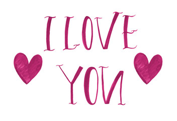 I love you card with handwritten lettering.
