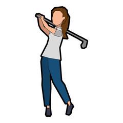 woman golfer playing avatar vector illustration design