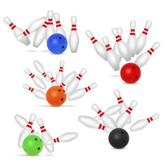 Bowling ball and skittles set, vector realistic illustration
