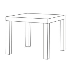 vector, isolated sketch of a table