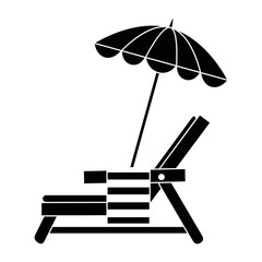 Wall Mural - beach chair with towel and umbrella vector illustration design