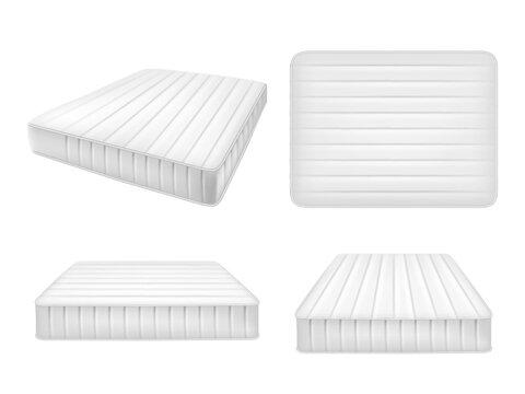 White bed mattresses set, vector realistic illustration