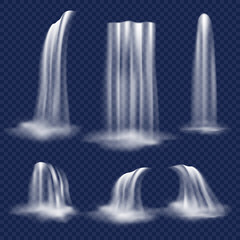 Vector realistic waterfall set