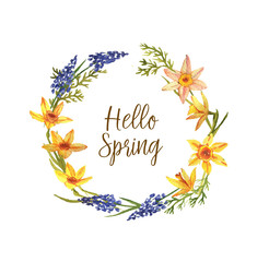 Hand-drawn cute wreath with spring flowers illustration in vintage watercolor style. Romantic floral design. Hello Spring
