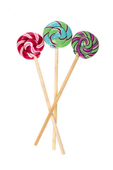lollipop,candy on a wooden stick ,white isolated background