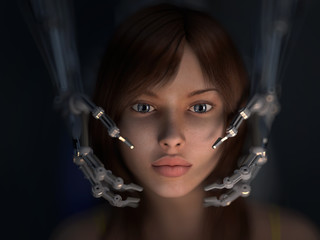 girls face in the hands of a robot