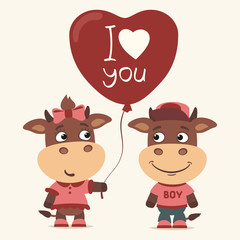 I love you! Funny cow girl gives balloon heart for bull boy. Greeting card for Valentine's Day.