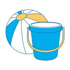 sand bucket beach with balloon vector illustration design