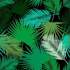 Seamless floral pattern with stylized fan and silk palm leaves. Jungle foliage, green hues on black background. Textile design.