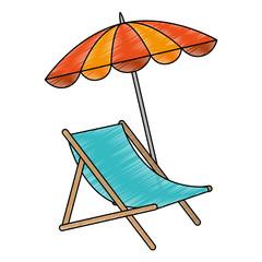 Wall Mural - beach chair with umbrella vector illustration design
