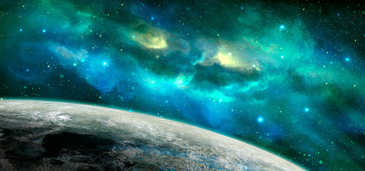 Space scene. Blue and green nebula with planet. Elements furnished by NASA. 3D rendering