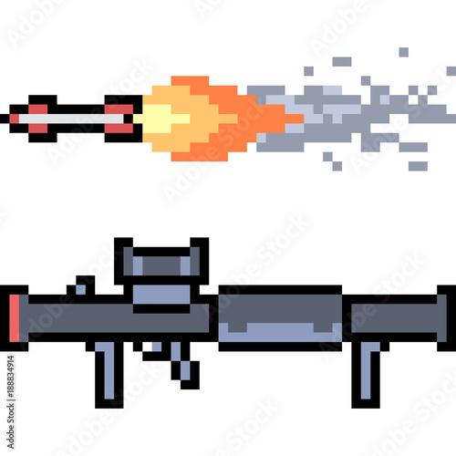 """vector Pixel Art Rocket Launcher"" Stock Image And Royalty"