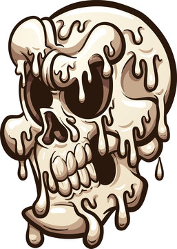 Melting cartoon skull. Vector clip art illustration with simple gradients. All in a single layer.