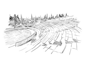 Theater of Dionysus. Athens. Greece. Europe. Hand drawn sketch. Vector illustration.