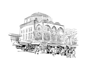 Cistarakis Mosque. Athens. Greece. Europe. Hand drawn sketch. Vector illustration.