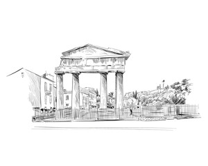 Roman Agora. Athens. Greece. Europe. Hand drawn sketch. Vector illustration.