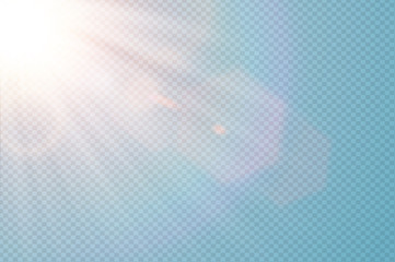 Vector transparent sunlight special lens flare. Abstract diagonal sun translucent light effect design. Isolated transparent background. Glow decor element. Star burst rays and spotlight