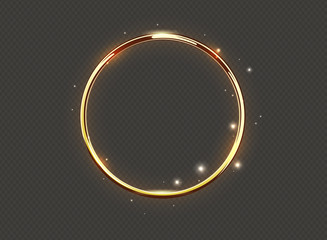 Abstract luxury golden glow ring on transparent background. Vector light circles spotlight and sparks light effect. Gold color round sparkling frame.
