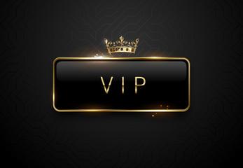 Vip black label with golden frame sparks and crown on black background. Dark premium template. Vector illustration.