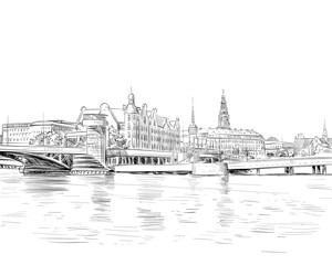 Copenhagen. Denmark. Europe. Hand drawn vector illustration.