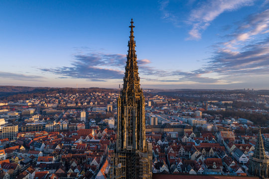 Aerial shot taken with a drone of Ulm Minster at sunrise