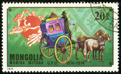 Ukraine - circa 2018: A postage stamp printed in Mongolia show French post coach. Series: U.P.U. Universal Postal Union, Centenary. Circa 1974.
