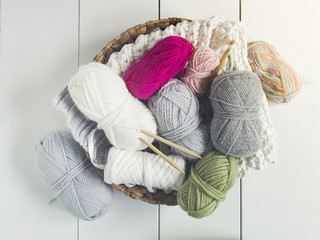 different kinds of colorful wool