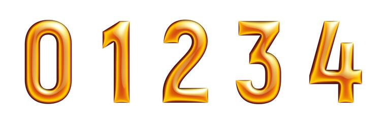 metallic golden alphabet, numers 01234, 3d rendering