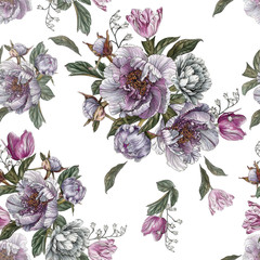 Floral seamless pattern with watercolor peonies and tulips