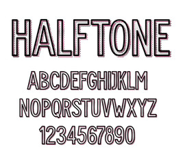 Vector dirty halftone font set isolated on white background. For logo, poster, banner. Uppercase letters and numbers.