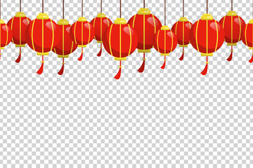 Vector cartoon isolated seamless pattern with Chinese Lanterns for decoration and covering on the transparent background. Concept of Chinese New Year.