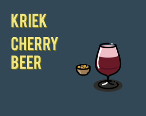 Belgian kriek cherry beer. Illustration for poster or menu for bar or restaurant. Can be placed on dark or light background. Isolated flat line art style.