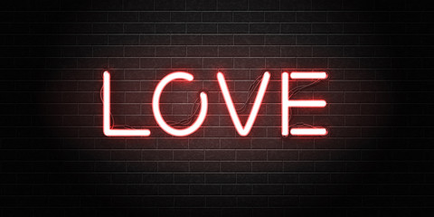 Vector realistic isolated neon sign of Love lettering for decoration and covering on the wall background. Concept of Happy Valentine's Day and romantic event.