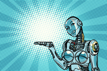 Beautiful woman robot presents