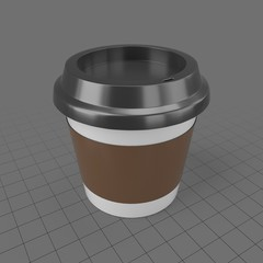 Small travel coffee cup with sleeve