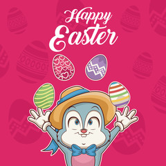 Happy easter card cartoon icon vector illustration graphic design