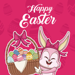 Happy easter card cartoon icon vector illustration graphic design