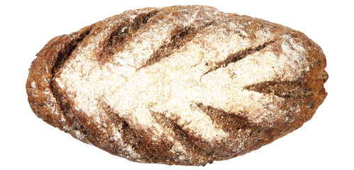 Panorama of black bread isolated on white.