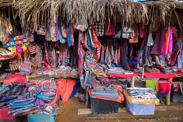 Traditional Palong and Lahu hilltribe market on the main walking street, which sells handicrafts produced in the local villages at Doi Ang Khang in Chiang Mai, Thailand.