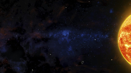 Sci-Fi Outer Space Scene With Red Star, Asteroids And Nebulas
