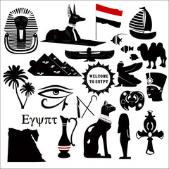 Collection of Egyptian traditional symbols on a white background