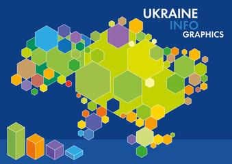 Vector Ukraine map colored figures hexagons infographics