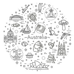 Vector graphic set. Australian culture, animals, traditions. Sign, element, emblem, symbol