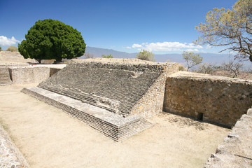 Ancient mexican ruins on Monte Alban, Oaxaca, Mexico