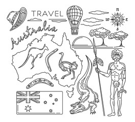 Travel Australia line icons set. Map of the Australia and travel icons collection. Vector illustration