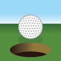 golf ball about to get into hole, red grass blue sky