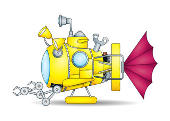 Drawing of a fantastic mini yellow toy submarine with mechanical arms seen from side on white background. Vector image