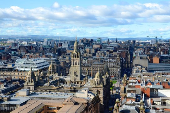 The skyline of Glasgow city centre looking towards George Square and the City Chambers