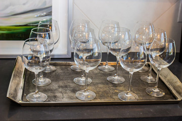 Tray Of Twelve Wine Glasses