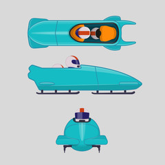 Bobsleigh for two athletes. Winter sports concept